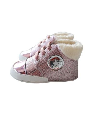 By Bebek Odam Parlak Tüylü Kız Bebek Ayakkabı Pembe